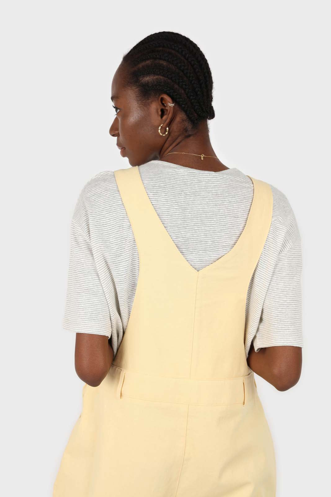 Pale yellow front patch pocket jumpsuit4