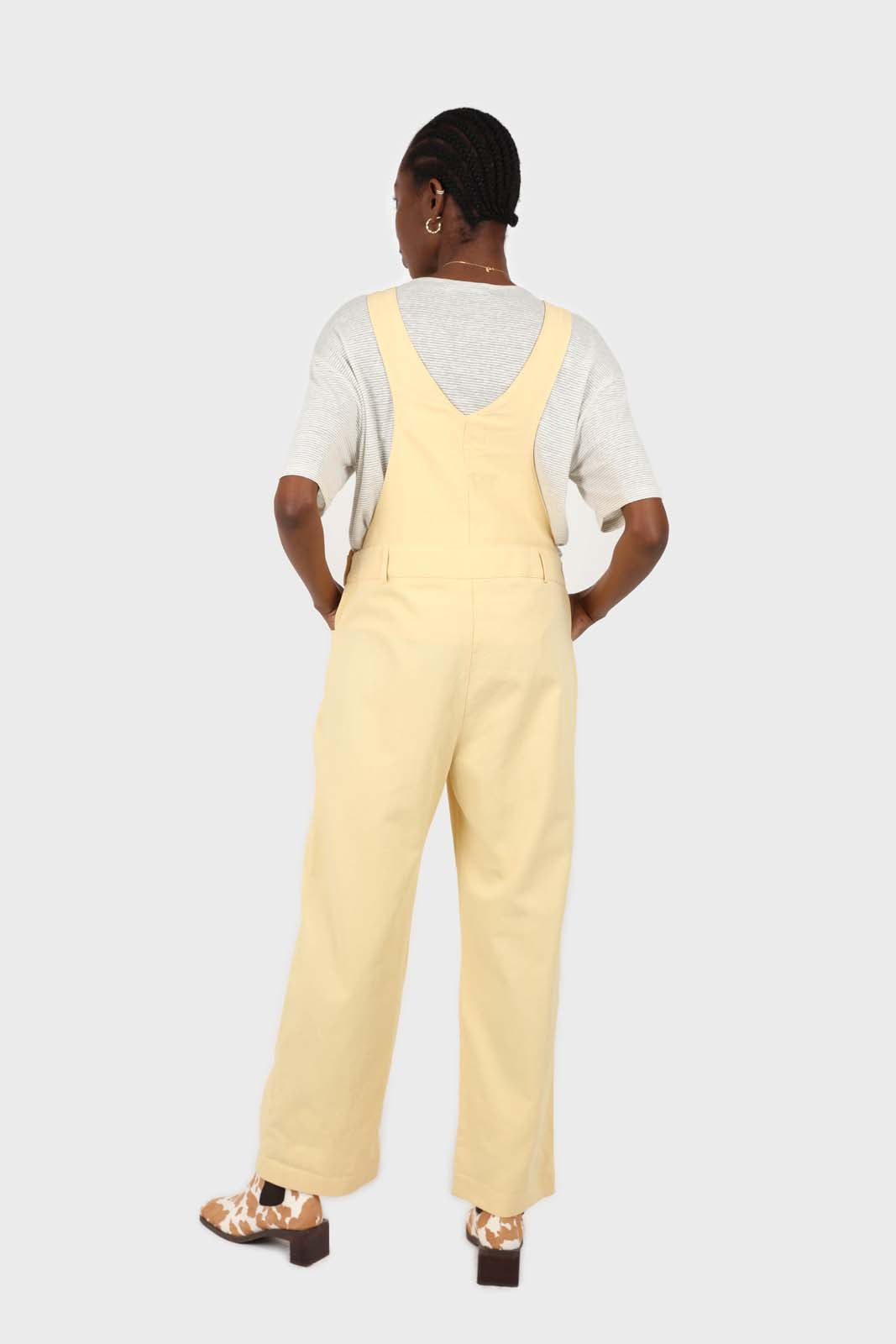 Pale yellow front patch pocket jumpsuit5