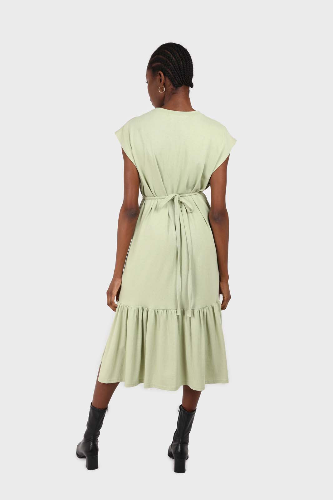 Mint large ruffle hem belted dress 1