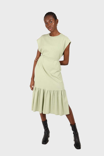 Mint large ruffle hem belted dress sx
