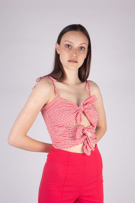 Red gingham triple tie front tank_MCFBA1