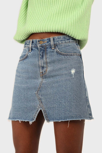 Mid blue denim mini skirt1sx