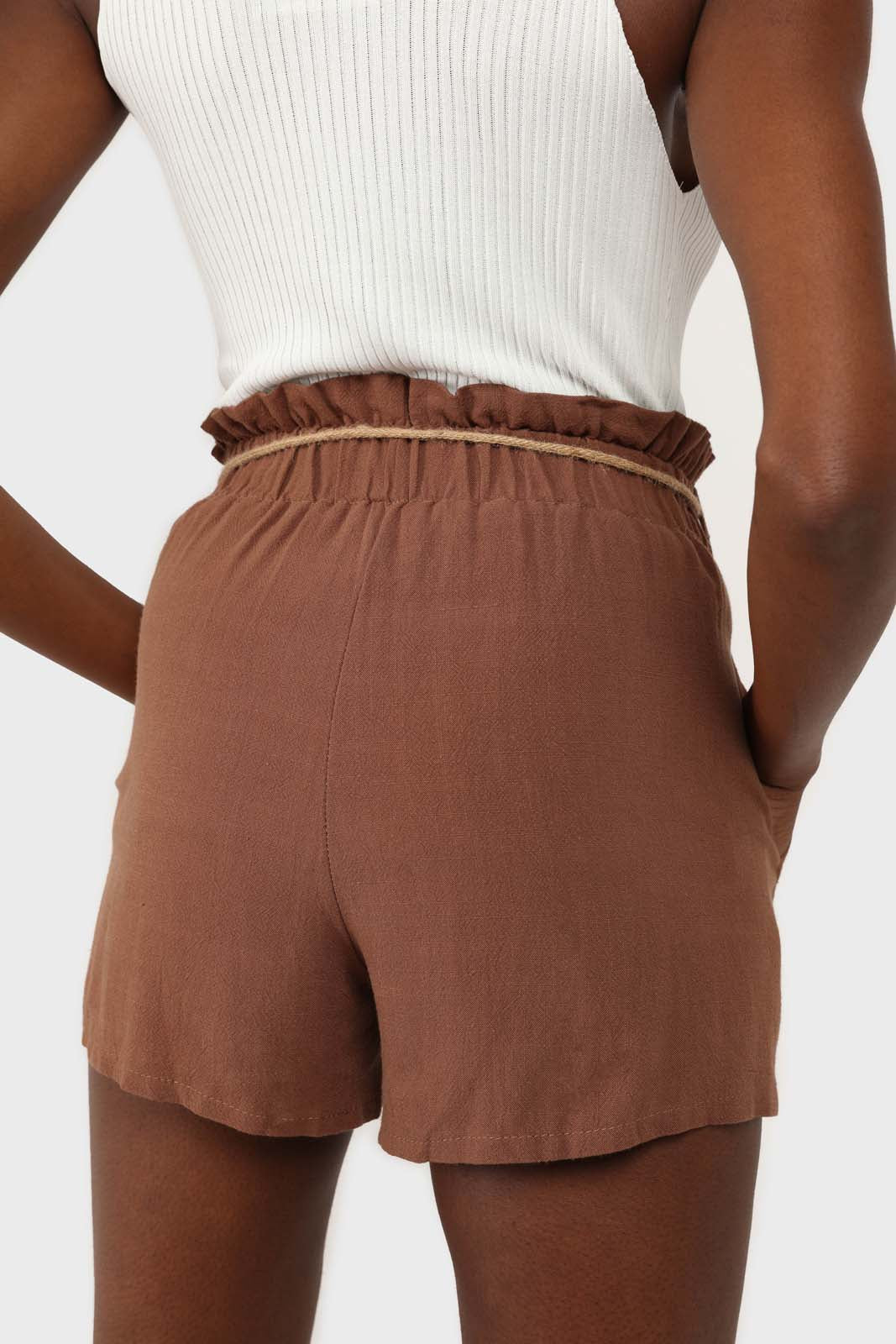 Brown loop waist belted linen shorts 1