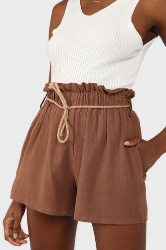 Brown loop waist belted linen shorts sx