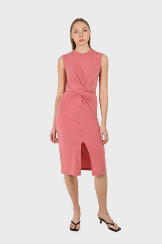 Dusty pink cross front fitted midi dress1