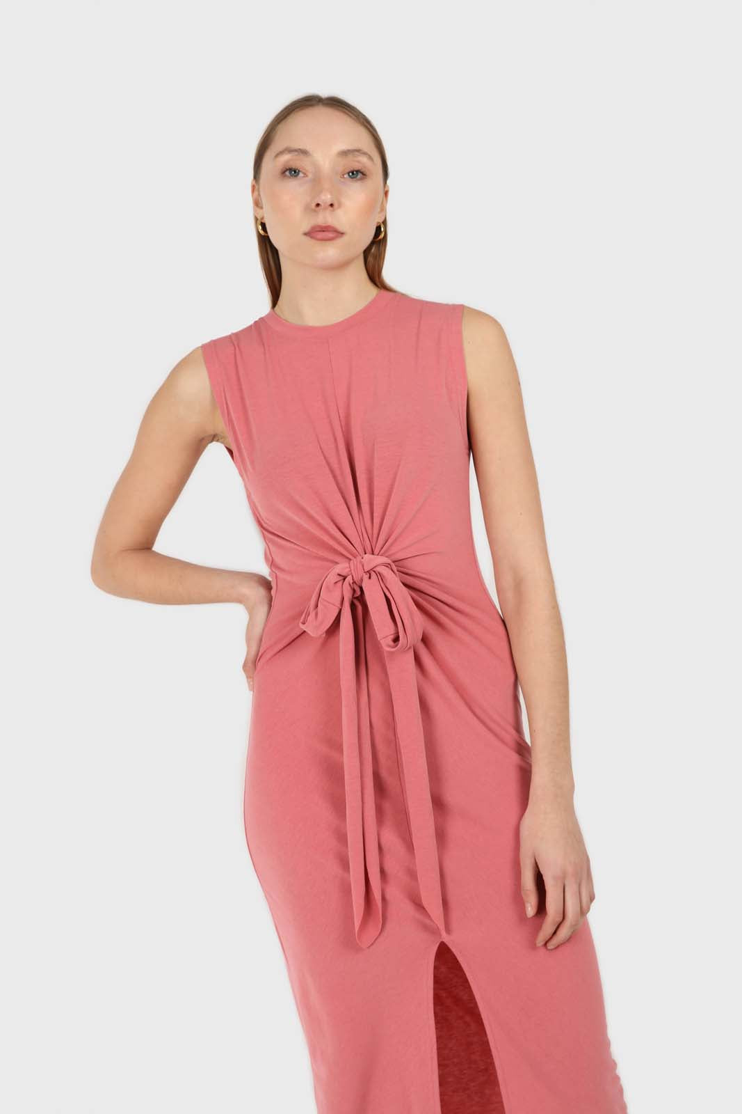 Dusty pink cross front fitted midi dress2