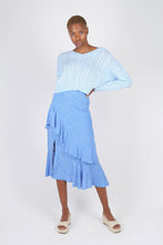 Load image into Gallery viewer, Blue and white dots tiered ruffle midi skirt1