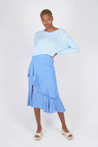 Blue and white dots tiered ruffle midi skirt1