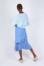 Load image into Gallery viewer, Blue and white dots tiered ruffle midi skirt2