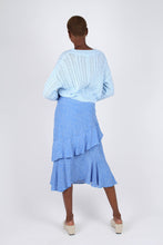 Load image into Gallery viewer, Blue and white dots tiered ruffle midi skirt3