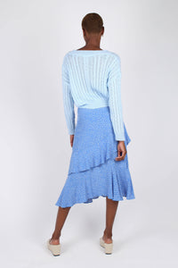 Blue and white dots tiered ruffle midi skirt4
