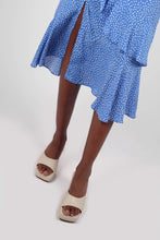 Load image into Gallery viewer, Blue and white dots tiered ruffle midi skirt5