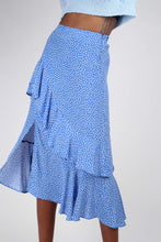 Load image into Gallery viewer, Blue and white dots tiered ruffle midi skirt6