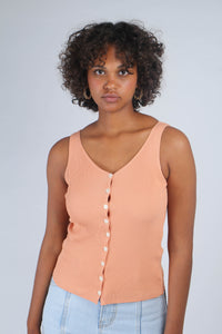 Pale orange button up ribbed knit tank_MCFBA1