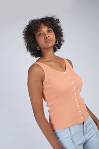 Pale orange button up ribbed knit tank_MCFBA2