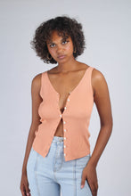 Load image into Gallery viewer, Pale orange button up ribbed knit tank_MCFBA3