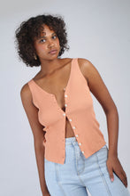 Load image into Gallery viewer, Pale orange button up ribbed knit tank_MCFBA4