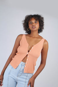 Pale orange button up ribbed knit tank_MCFBA5