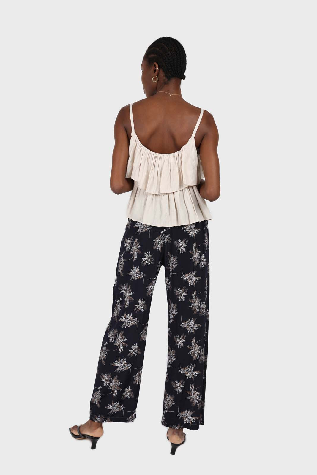 Navy and white floral wide leg trousers2
