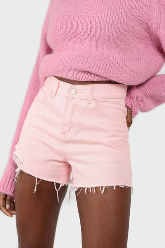 Pink raw hem denim shorts1sx