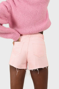 Pink raw hem denim shorts3