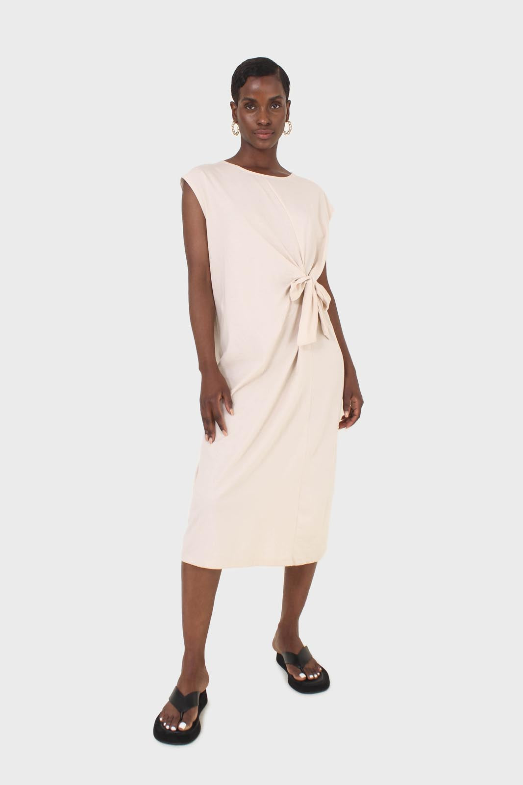 Cream tie front sleeveless maxi dress 1