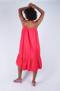 Red large ruffle hem rope belted dress_3