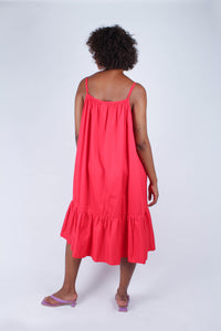 Red large ruffle hem rope belted dress_7