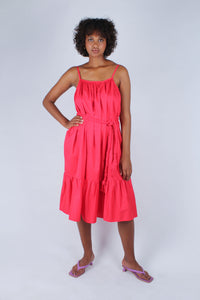 Red large ruffle hem rope belted dress_6