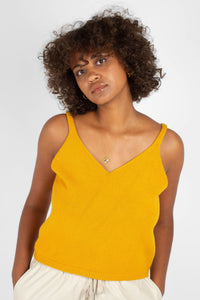 Mustard soft V-neck knit tank2