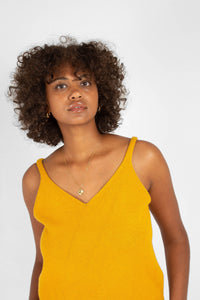 Mustard soft V-neck knit tank3