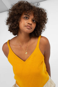 Mustard soft V-neck knit tank4