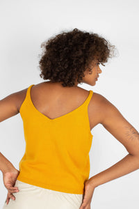Mustard soft V-neck knit tank5