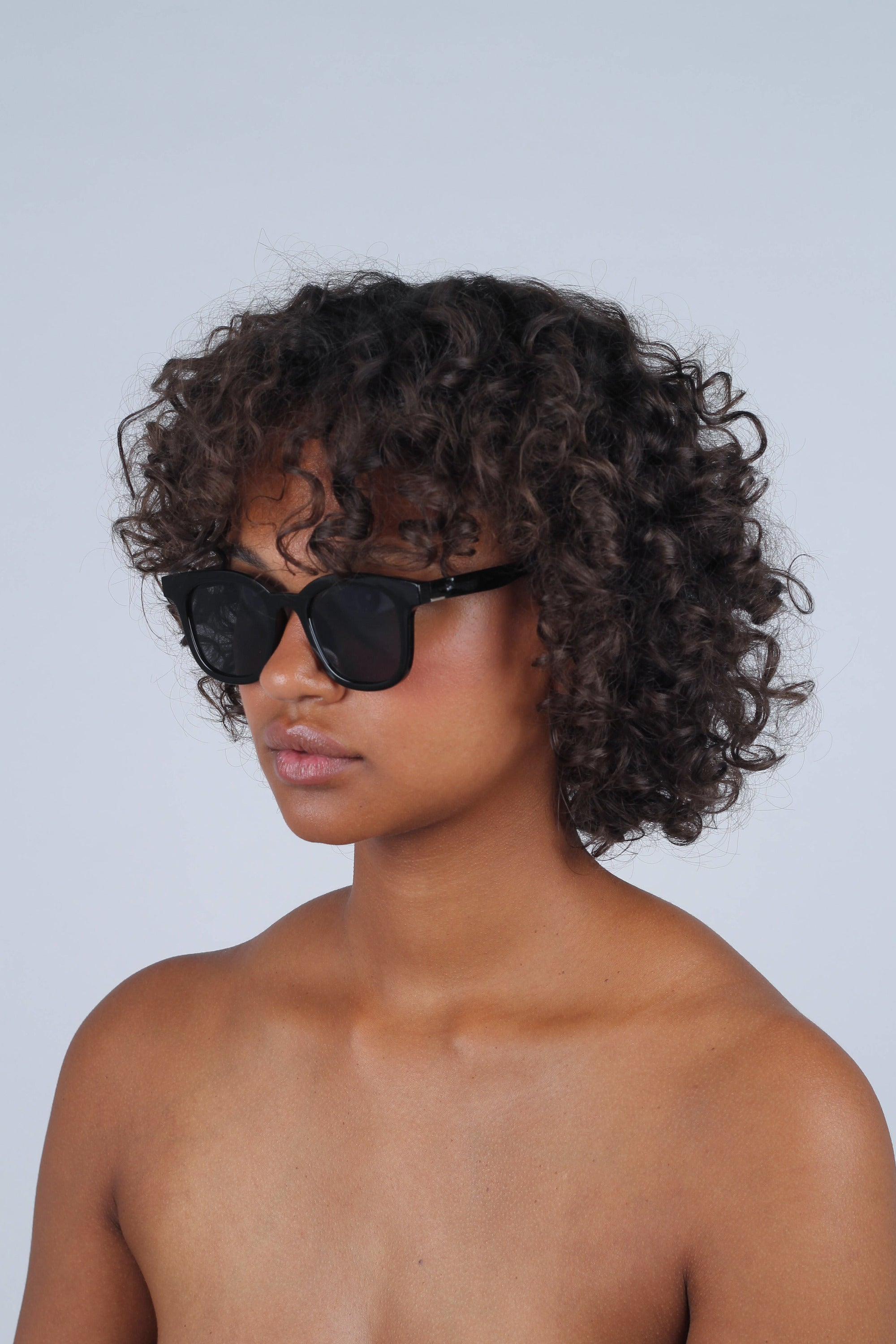 All black thick square frame sunglasses_MCSBA1