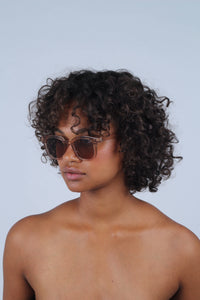 Beige thick square frame sunglasses_MCSBA1