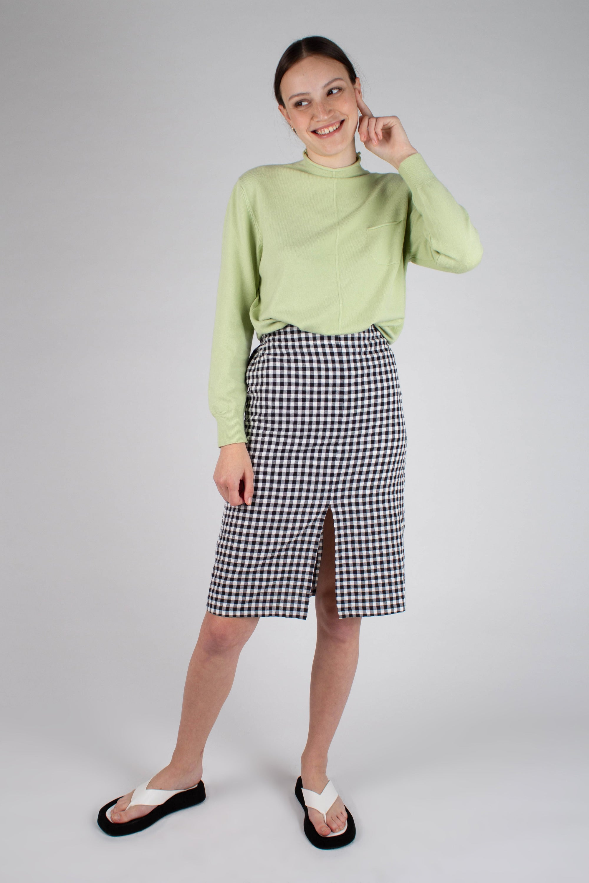 21751_Green chest pocket mock neck knit top_MFFBA1