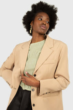 Load image into Gallery viewer, Beige flap pocket long belted blazer7