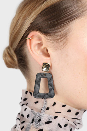 Gold and black vegan leather square drop earrings1sx