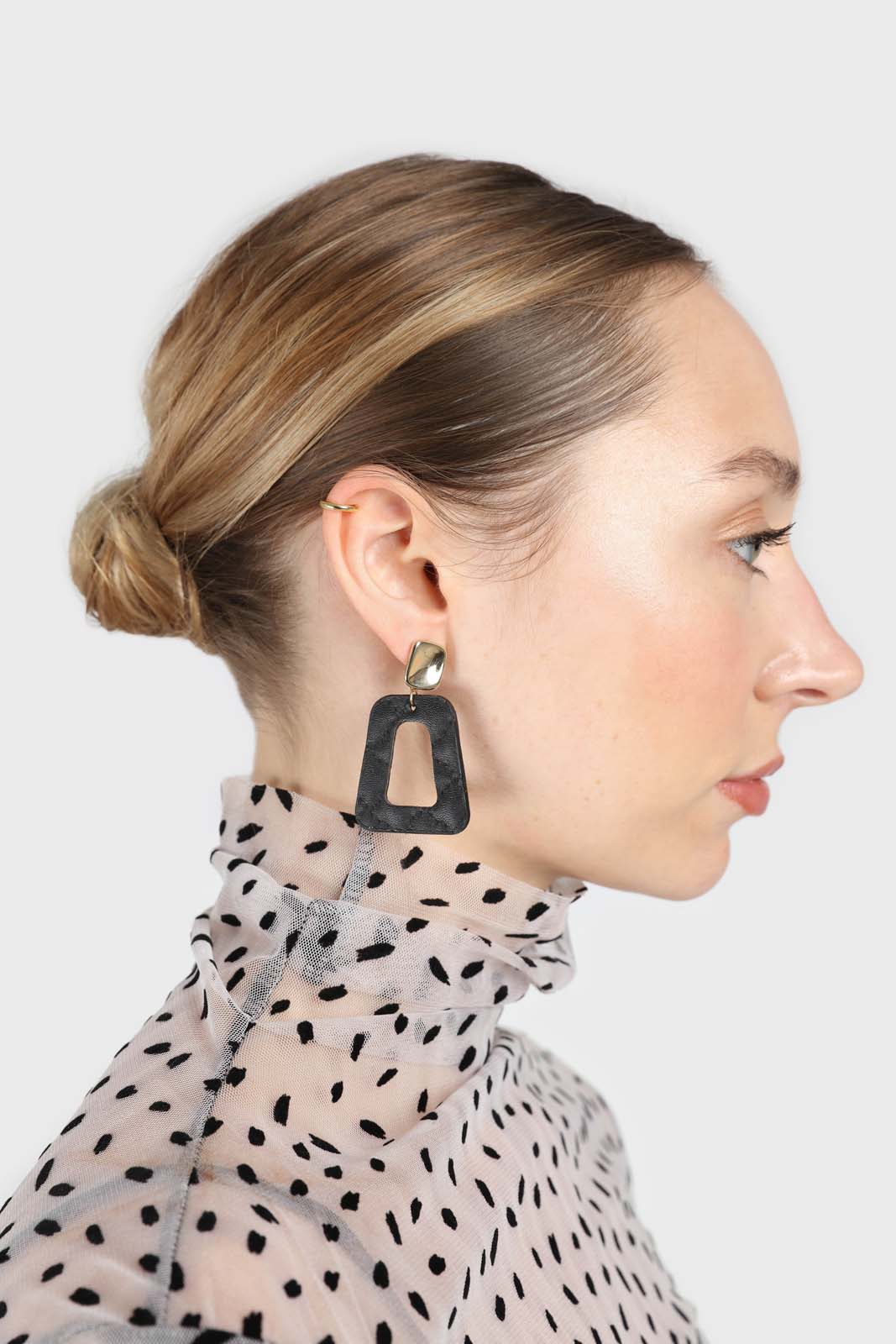 Gold and black vegan leather square drop earrings2