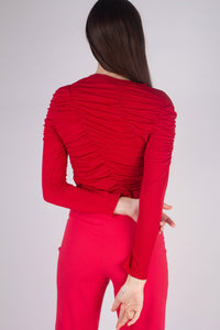 21865_Red shirring jersey long sleeved top_MCBBA1