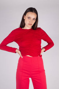 21865_Red shirring jersey long sleeved top_MCFBA1