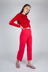 21865_Red shirring jersey long sleeved top_MFSBA1