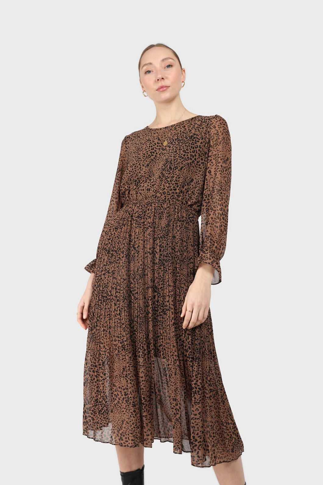 Camel animal print silky micro pleat long sleeved maxi dress1sx