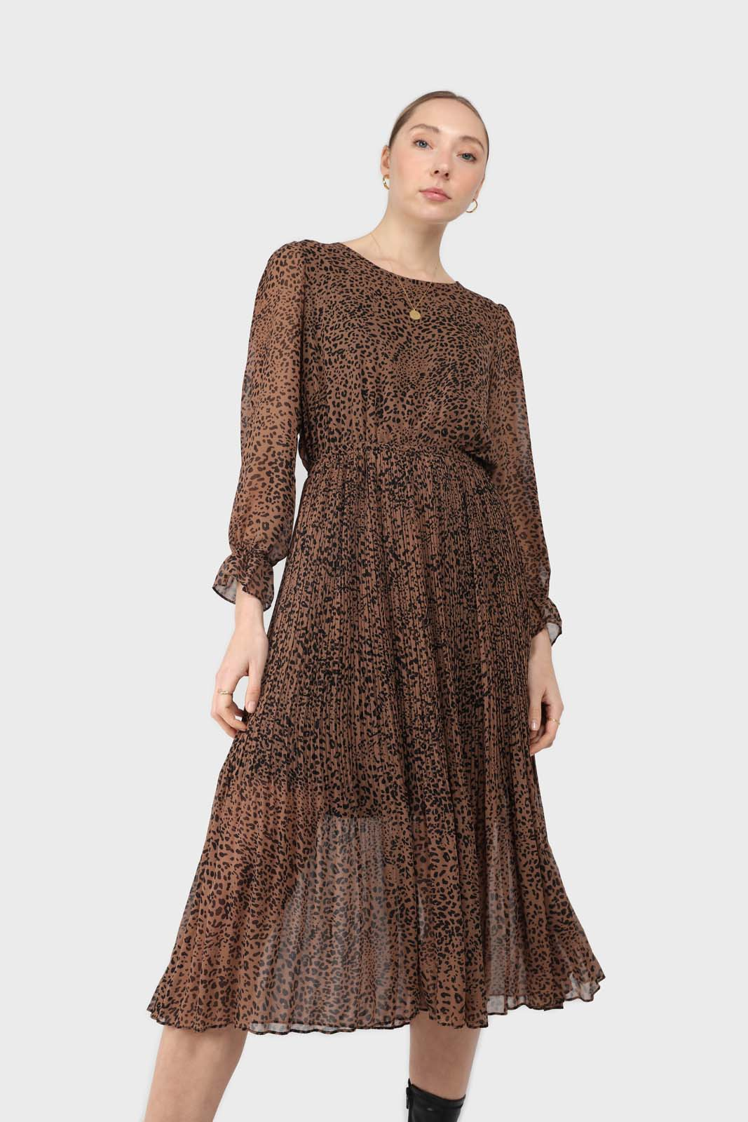Camel animal print silky micro pleat long sleeved maxi dress2