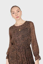 Load image into Gallery viewer, Camel animal print silky micro pleat long sleeved maxi dress3