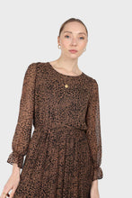 Load image into Gallery viewer, Camel animal print silky micro pleat long sleeved maxi dress4