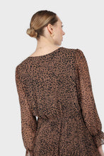 Load image into Gallery viewer, Camel animal print silky micro pleat long sleeved maxi dress5