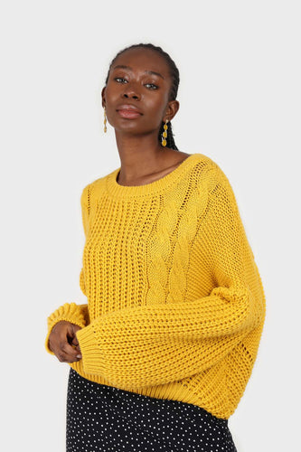 Yellow large cable crew neck jumper1sx