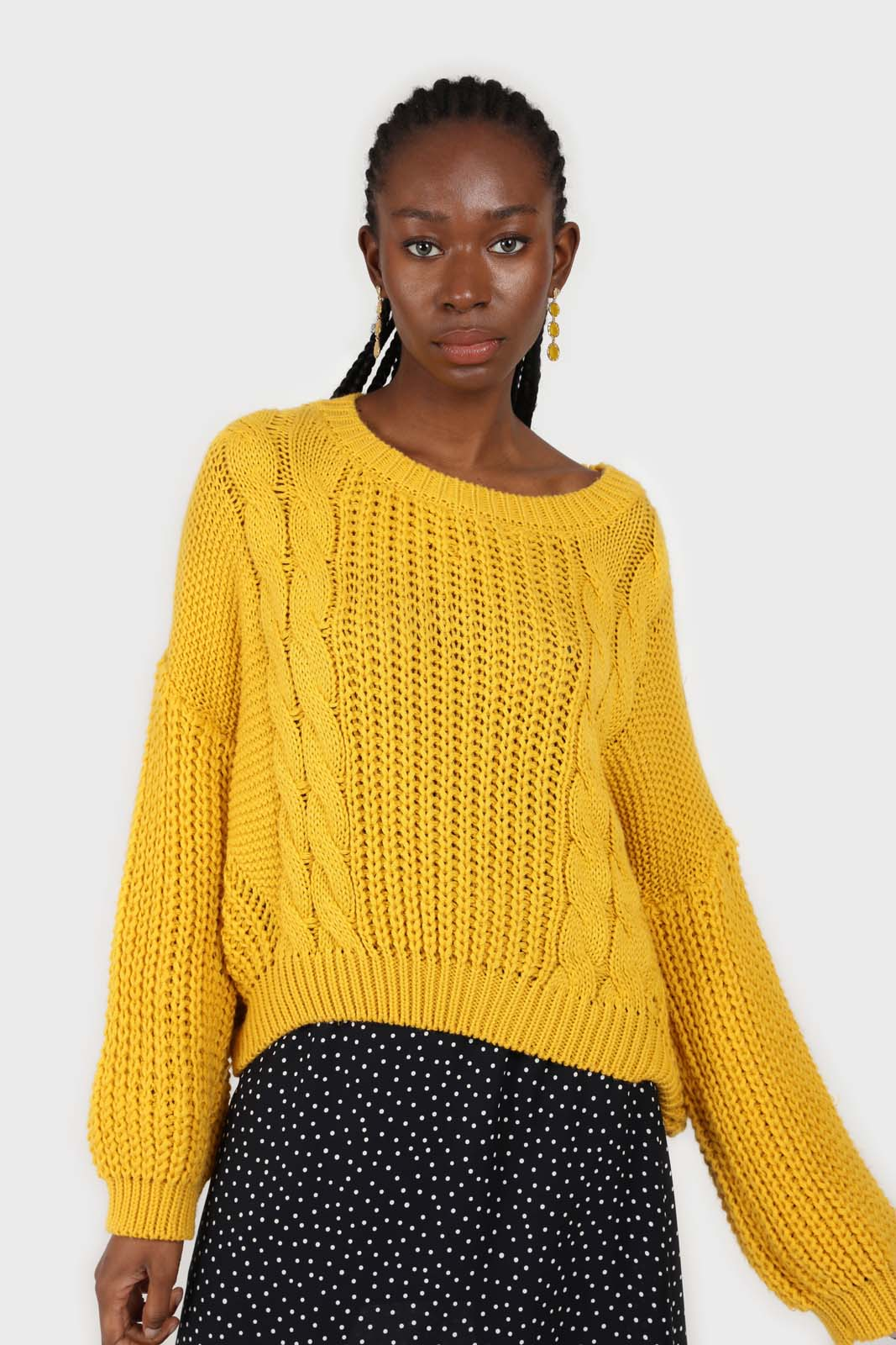 Yellow large cable crew neck jumper2