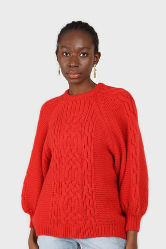 Bright red chunky cable knit balloon sleeved jumper1sx